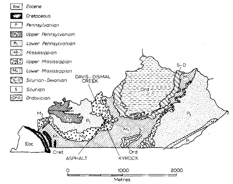نقشه زمینشناسی ایالت کنتاکی،نشاندهنده محل انباشتهای اصلی آسفالت