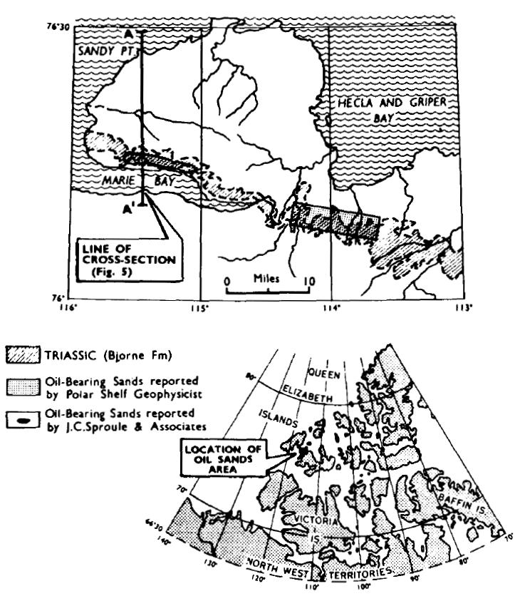 نقشه زمین شناسی ماسه های قیری جزیره Melville کانادا