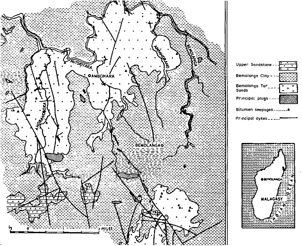 نقشه زمین شناسی ماسه های قیری Bemolanga،ماداگاسکار